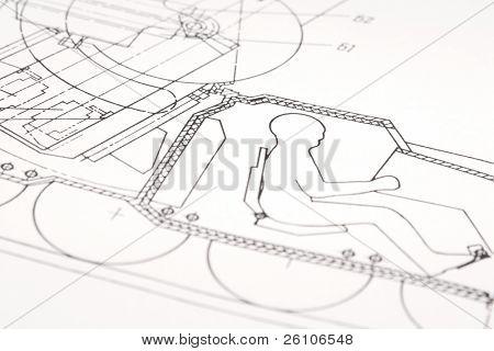 Technical blueprint of military machine. Closeup.
