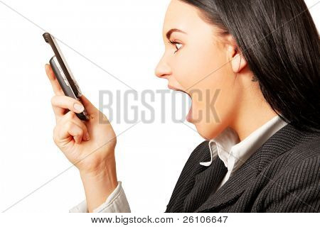 Isolated portrait shot of a surprised woman, looking at cell (mobile) phone.
