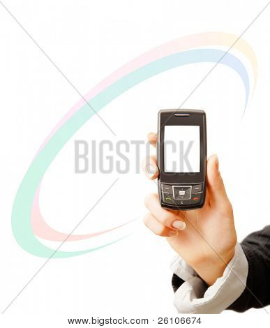 Mobile phone in woman hand. With some graphic. Isolated on white. Closeup.