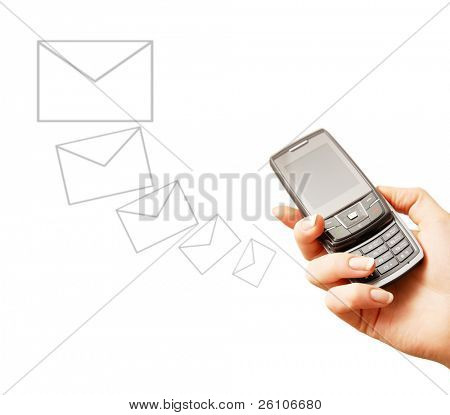 Mobile phone in woman hand. Sending message. Isolated on white. Closeup.