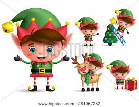 Christmas Elf.Boy Christmas Elf Vector Character Set Little Kid Elves With Green Costume Holding Christmas Gifts Poster
