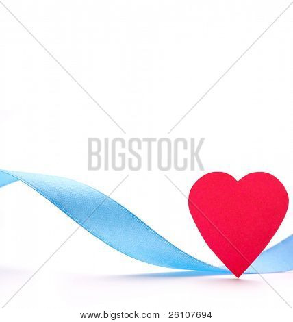 Red paper heart with blue silk ribbon isolated on white. Closeup. Celebratory image.