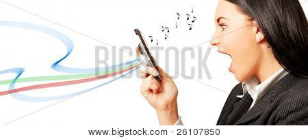 Surprised woman, looking at cell (mobile) phone. There are musical notes and some graphic. Isolated on white.