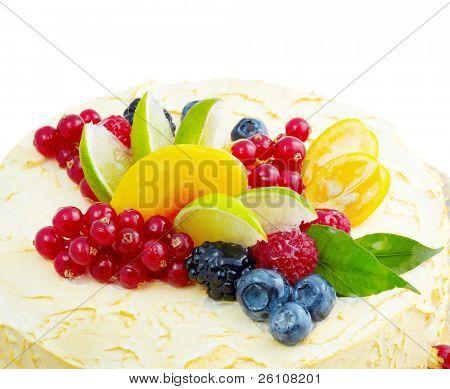 Verlockende Früchte Dessert Kuchen Nahaufnahme erschossen.