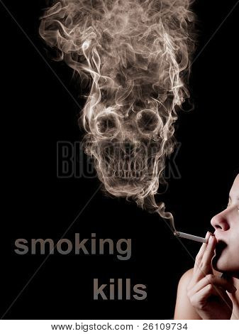 "The concept ""smoking kills"". Isolated on a black background"
