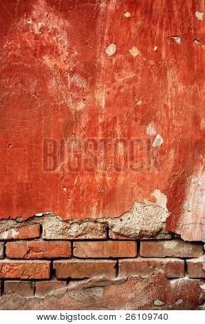 brick an red colours old wall