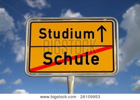 German Road Sign School And Study