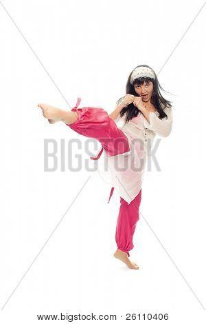 beauty eastern woman kick foot on white background