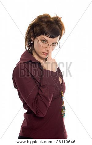 beauty business woman look glasses on white background