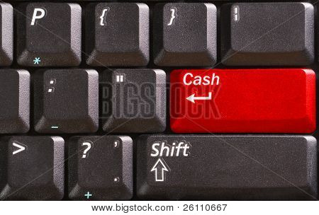 teclado negro con la palabra dinero en botón rojo
