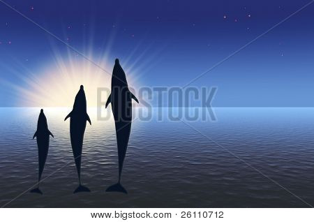 three dolphins high jumping under water in rays sunrise