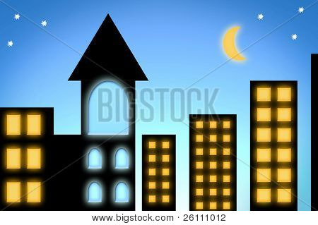 urban view silhouette city witn tower and moon on sky