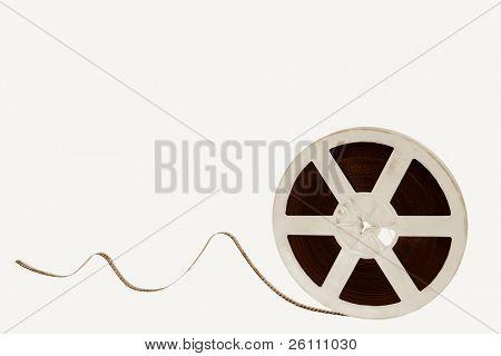 old movie film on white background