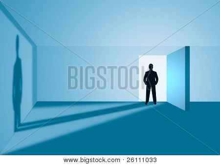silhouette  man in door with shadow