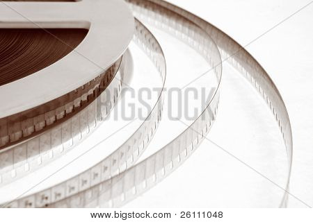 old movie film on white background