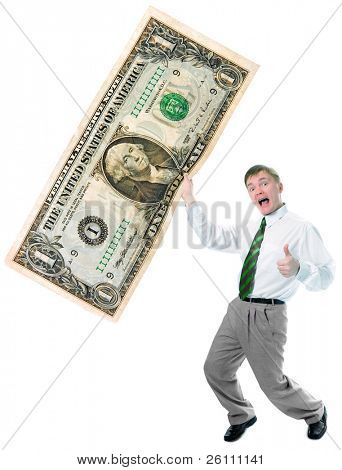 businessman hold big size us dollar on white background