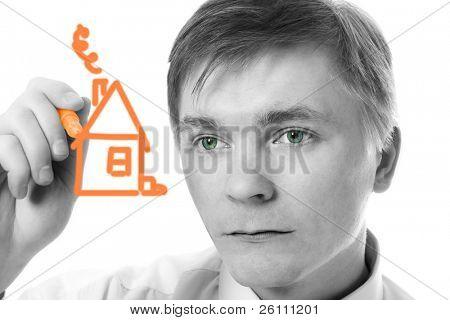 Young Businessman Design Markierung Haus auf weißem Hintergrund