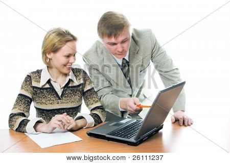 team businessman and woman work on laptop on white background