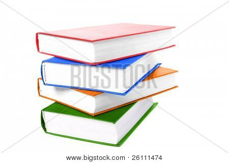 pile colors books on white background