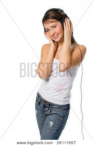 pretty girl in head phones over white