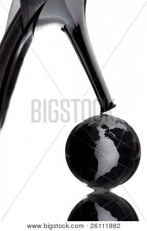 globe with North America continent to be henpecked on white background