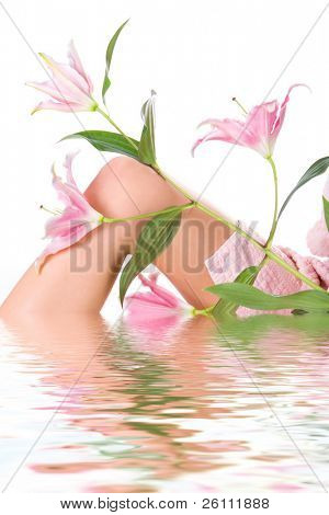 beauty woman legs with pink lily on white background