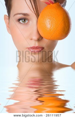 yung beauty girl hold orange  front of eye