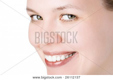 close-ups joyful face girl looks in staff and wide smile white teeth over white background