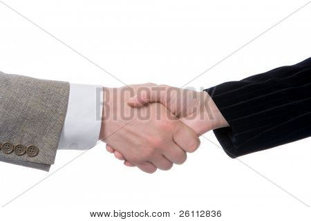 handshake business people isolated over white background