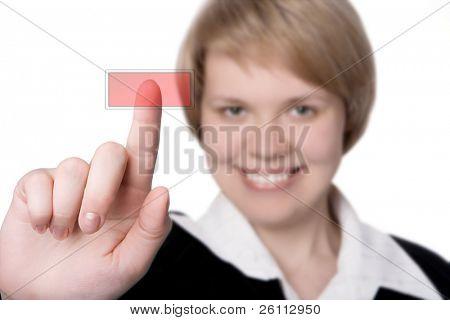 Lächeln Sie geschäftsfrau drücken Sie die rote Taste over white background