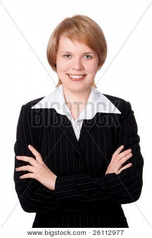 happy businesswoman smiling with hand on bust iolated over white background