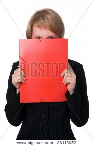 Businesswoman closes face a red folder over white bavkground
