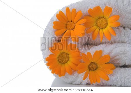 spa towel and orange flower on white background