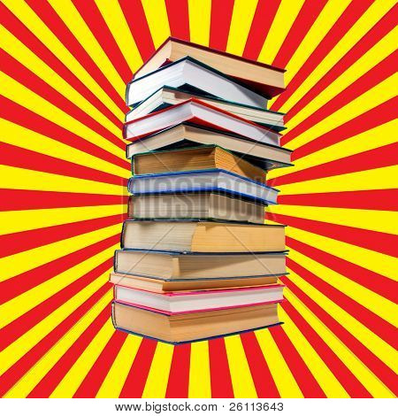 pile books on old sun light background red and yellow