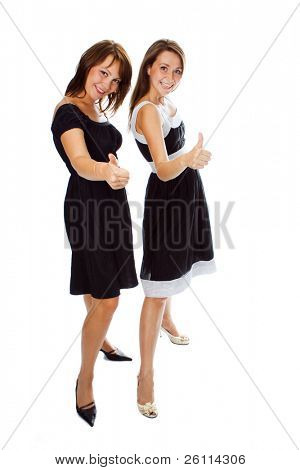 two young woman show sign OK over white