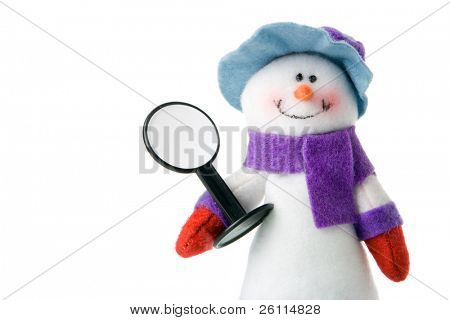 snowman that keep blank sign over white
