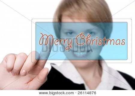 business woman grattes marry christmas push button over white background