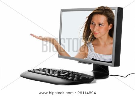 beauty woman in  plasma monitor over white
