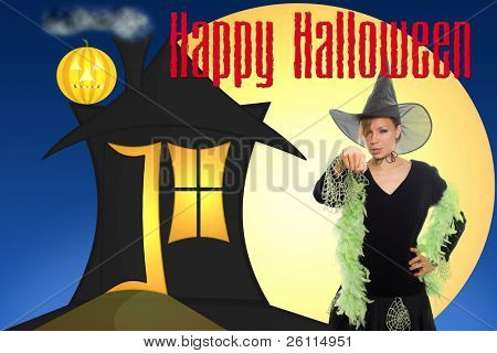 darck house, moon and witch  congratulate happy halloween