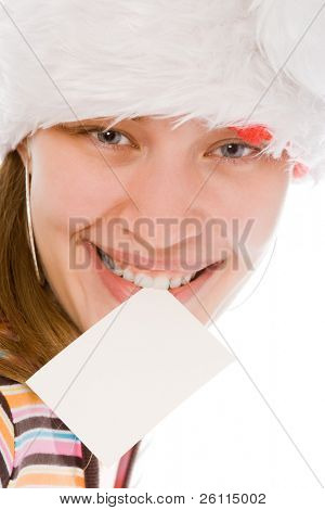 young beauty woman in red hat with white blank in teeth on white background