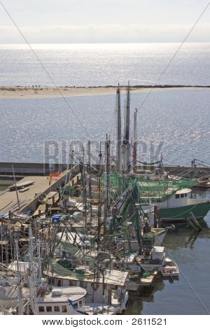 Shrimp Boats And Harbor Construction