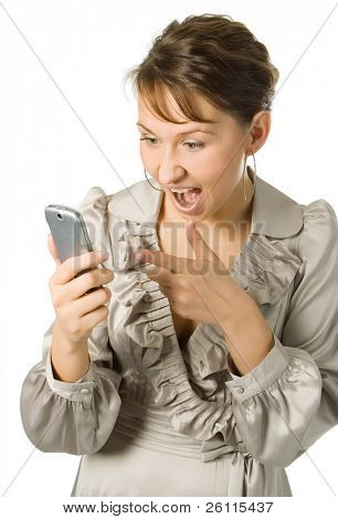 beauty business anger woman scream and poke one's finger into cell phone over white background