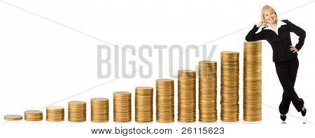 business woman and graph from money twelve columns progress over white background