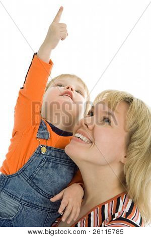 happy family mother and baby show finger up over white background