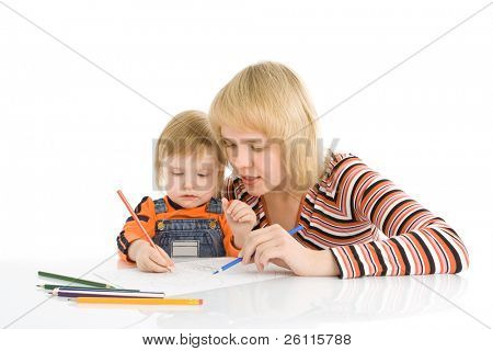 pretty baby and mother draw color pencil over white background