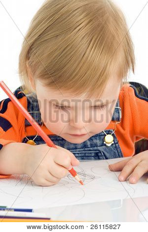 close-up pretty baby draw color pencil  over white background