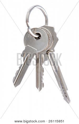 three keys on keyring isolated over white background