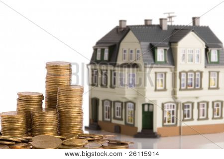 money for the house over white background