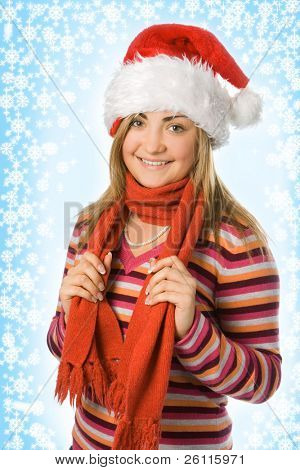 christmas girl in red hat and scarf and snowflake and starlet