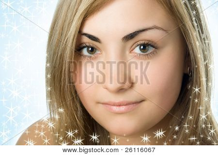 close-up young woman portrait beauty face over white background